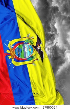 Ecuadorian waving flag on a bad background