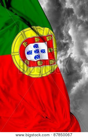 Portuguese waving flag on a bad day