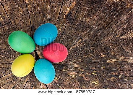 Close Up Of Stump With Easter Colorful Eggs
