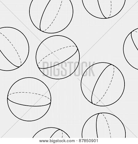 Geometric seamless simple monochrome minimalistic pattern of sphere shapes