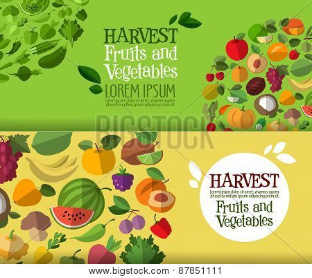 fruits and vegetables vector logo design template. fresh food or harvest icon.