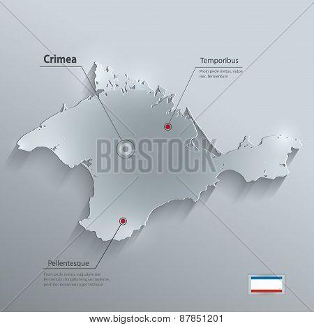 Crimea map flag glass card paper 3D vector