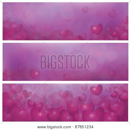 Vector pink banners with hearts.