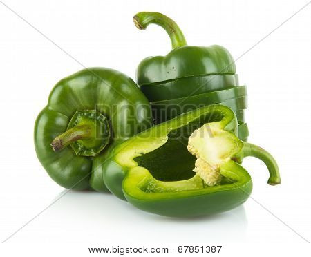 Closeup Halved Green Bell Peppers Isolated On White