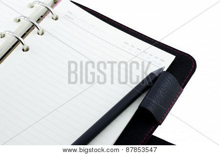 Notebook With Pencil Isolate On White