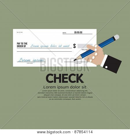 Hand Holding A Pencil With Check.