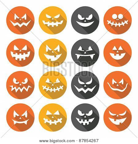 Scary Halloween pumpkin faces flat design icons set