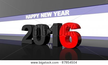 Happy new year 2016 3d design