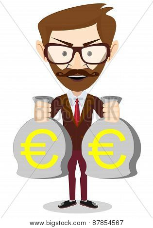 of a happy young cartoon Hipster businessman with bag full money euro. Vector Illustration