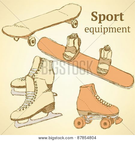 Sketch Sport Equipment In Vintage Style