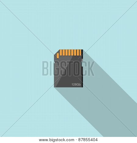 Memory card flat icon with long shadow.