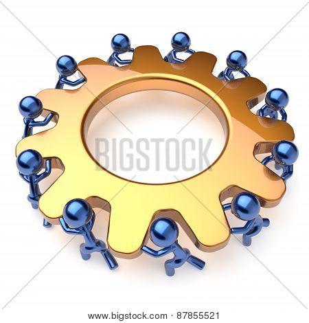 Team Work Business Process Teamwork Mans Turning Gear