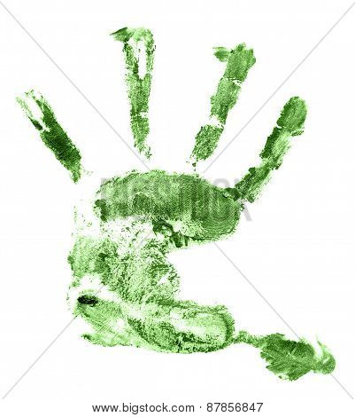 Children green hand print isolated on white background.  palm, watercolor