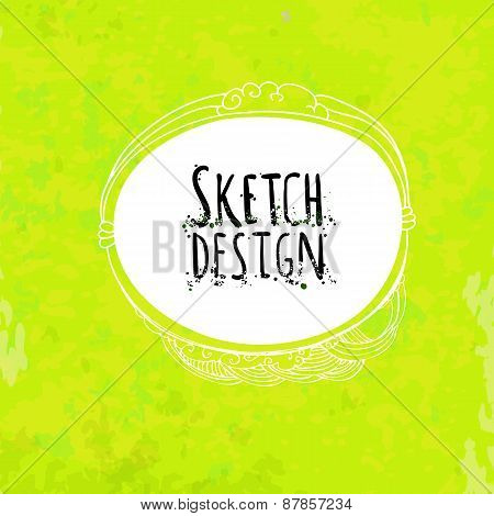 Abstract Sketch Drawing Label At Green Artistic Paper
