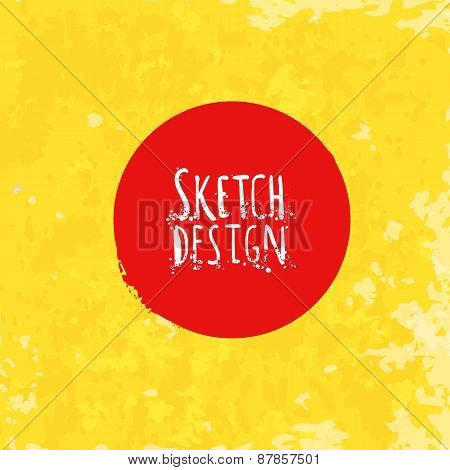 Abstract Drawing Label At Bright Yellow Artistic Paper