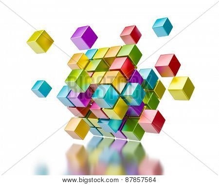 Business teamwork collaboration communication concept - colorful color cubes assembling into  cubic structure isolated on white with reflection