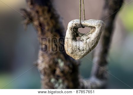 Stone With A Hole, Adder Stone Against  Blurred Background With Copyspace