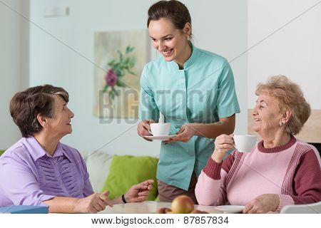 Old Women, Tea And Nurse