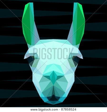 Abstract Polygonal Geometric Llama Portrait For Use In Design