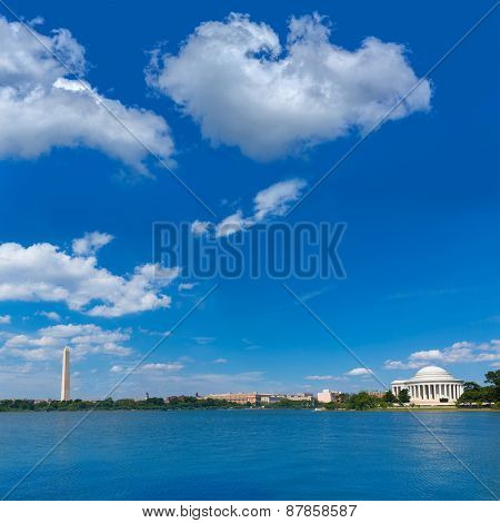Thomas Jefferson and Washington memorial in District of Columbia USA