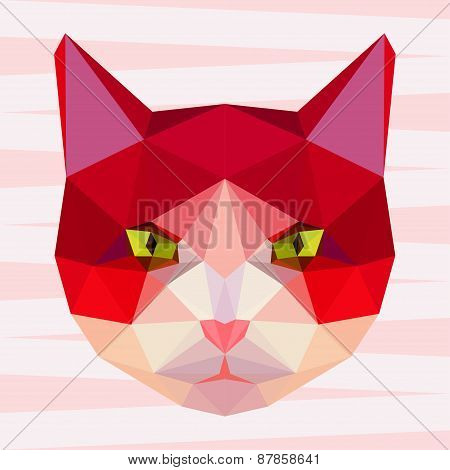 Abstract Polygonal Geometric Bright Cat Portrait For Use In Design