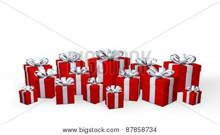 Red gift boxes isolated on a white background
