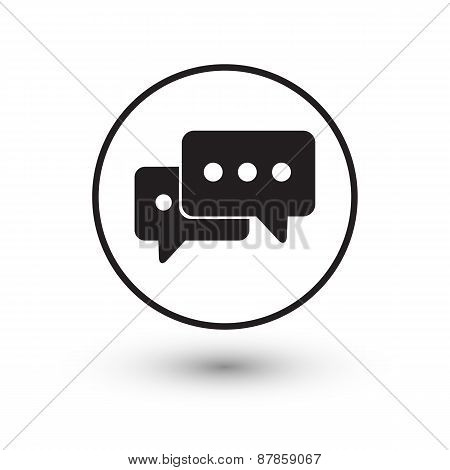 Black chat icon with shadow on white background.