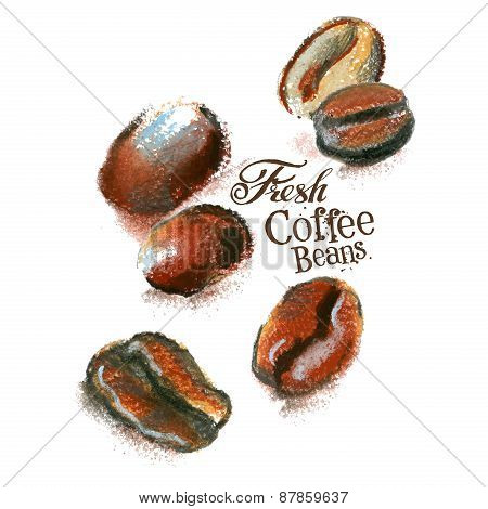 fresh coffee vector logo design template. beans or espresso icon.