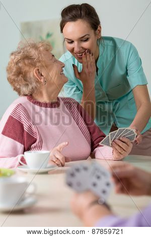 Nurse Helping With Cards
