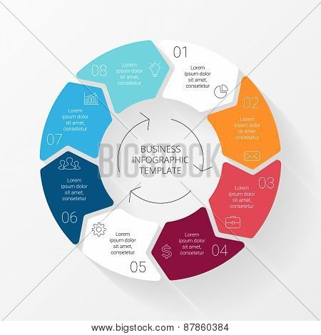 Vector line circle arrows infographic. Template for cycle diagram, graph, presentation and round cha