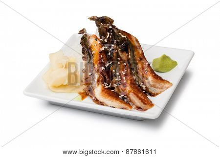 smoked Eel sashimi with withe plate isolated on white background