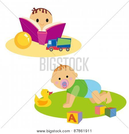 Little boy reading book. Baby with toy. Isolated on white background
