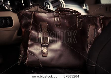 Leather Bag In The Car