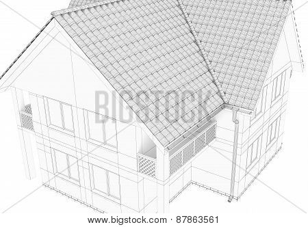 Illustration of a house. Black line drawing.