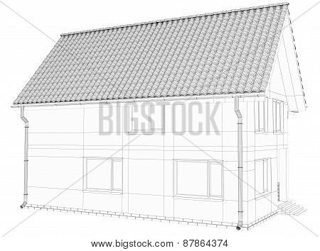 Wireframe 3D of building.