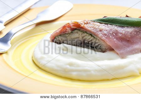 fillet of trout with sage roasted in the Prague Ham with mashed potatoes