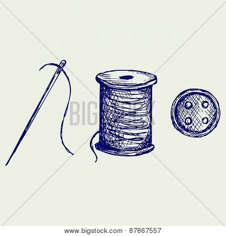 Spool with threads and sewing button