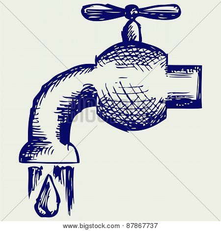 Dripping tap with drop