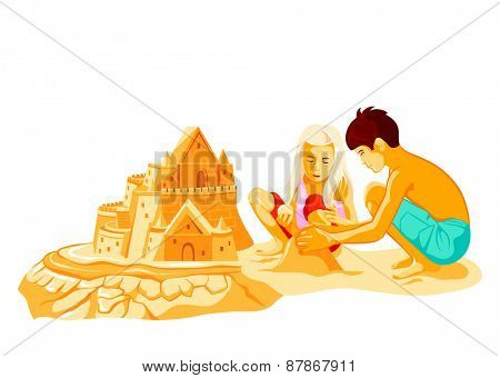 Boy and girl building big sand castle at the beach