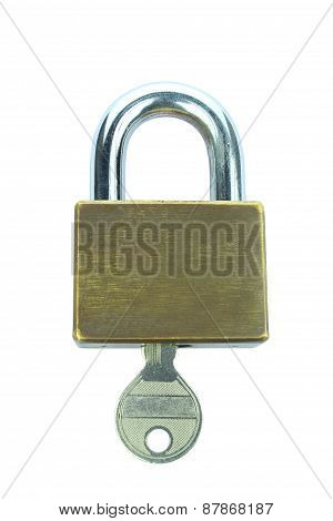 Lock Key Isolated On White Background
