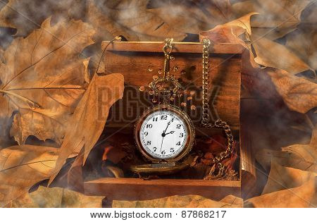 antique clock with smoke