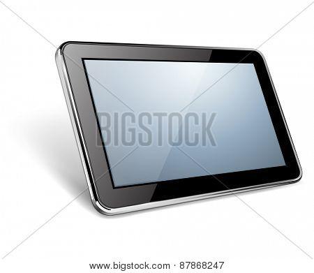 Modern black tablet pc, vector illustration.