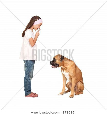 Adorable Girl Ordering Silence His Dog