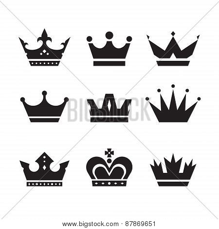 Crown vector icons set. Crowns signs collection.