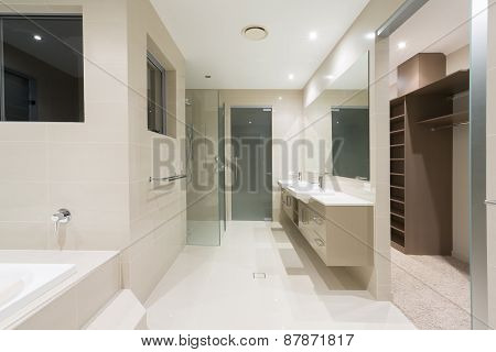 Master Bathroom In New Modern Home