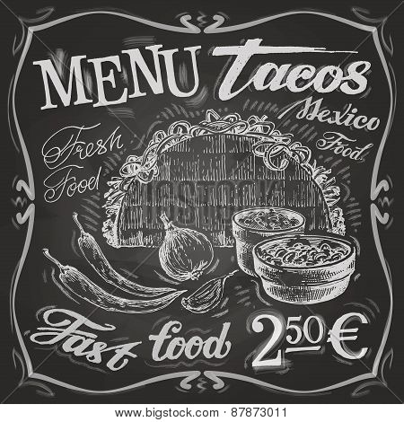 Mexican food logo design template. tacos, burritos or menu board icon.