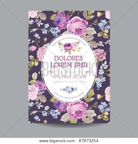 Baby Arrival or Shower Card - with Floral Blossom Design Background - in vector
