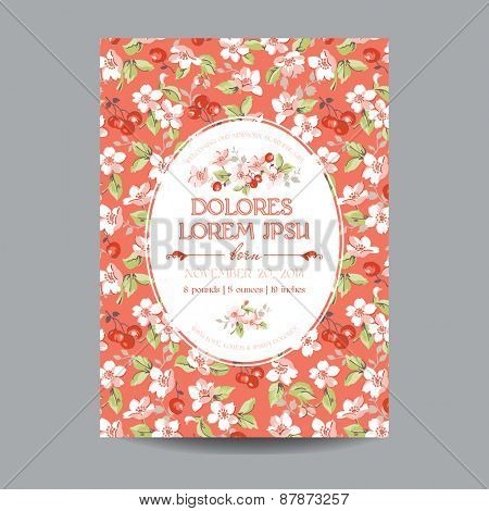 Baby Arrival or Shower Card - with Floral Blossom and Cherry Design - in vector