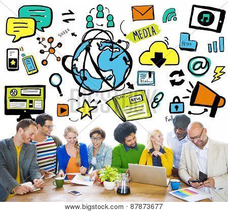 Diversity Casual People Global Media Brainstorming Teamwork Concept