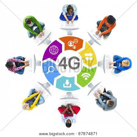 Diverse People in a Circle with 4G Concept
